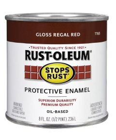Stops Rust Protective Enamel Oil-Based Paint, Half Pint, Gloss Regal Red