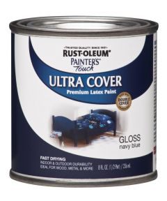 Painter's Touch Ultra Cover Multi-Purpose Gloss Brush-On Paint , Half Pint, Navy Blue