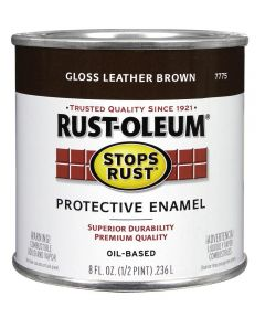 Stops Rust Protective Enamel, Half Pint, Leather Brown