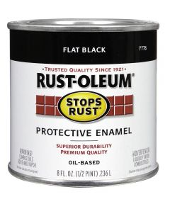 Stops Rust Protective Enamel Oil-Based Paint, Half Pint, Flat Black