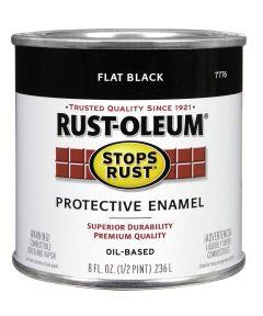 Stops Rust Protective Enamel Oil-Based Paint, Half Pint, Flat Black