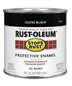 Stops Rust Protective Enamel Oil-Based Paint, Half Pint, Gloss Black