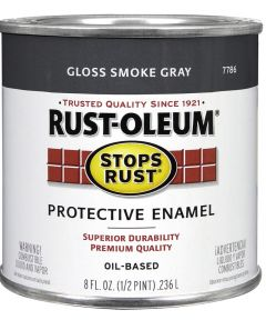 Stops Rust Protective Enamel Oil-Based Paint, Half Pint, Gloss Smoke Gray
