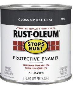 Stops Rust Protective Enamel Oil-Based Paint, Half Pint, Gloss Smoke Gray