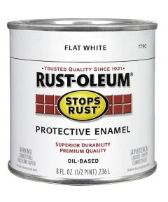Stops Rust Protective Enamel Oil-Based Paint, Half Pint, Flat White