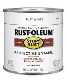 Stops Rust Protective Enamel Oil-Based Paint, Half Pint, Flat White