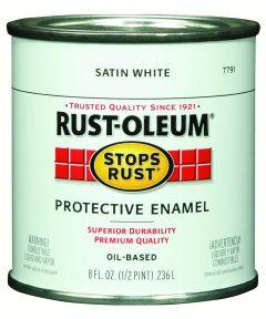 Stops Rust Protective Enamel Oil-Based Paint, Half Pint, Satin White