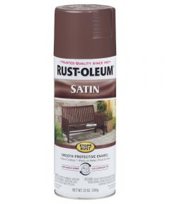 Stops Rust Satin Enamel Spray, 12 oz Spray Paint, Chestnut Brown