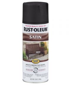 Stops Rust Satin Enamel Spray, 12 oz Spray Paint, Black