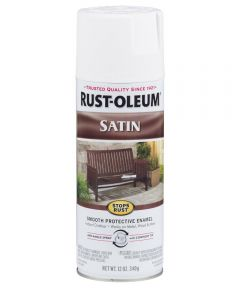 Stops Rust Satin Enamel Spray, 12 oz Spray Paint, White