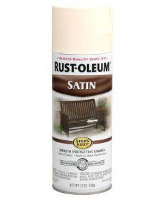 Stops Rust Satin Enamel Spray, 12 oz Spray Paint, Shell White