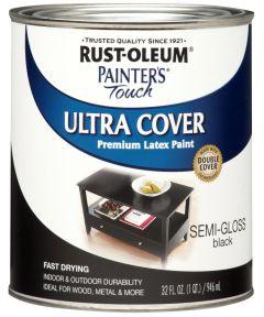 Painter's Touch Ultra Cover Multi-Purpose Gloss Brush-On Paint , Quart, Semi-Gloss Black