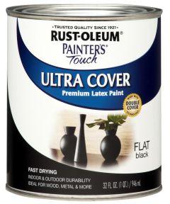 Painter's Touch Ultra Cover Multi-Purpose Gloss Brush-On Paint , Quart, Flat Black