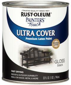 Painter's Touch Ultra Cover Multi-Purpose Gloss Brush-On Paint , Quart, Gloss Black