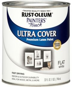 Painter's Touch Ultra Cover Multi-Purpose Gloss Brush-On Paint , Quart, Flat White