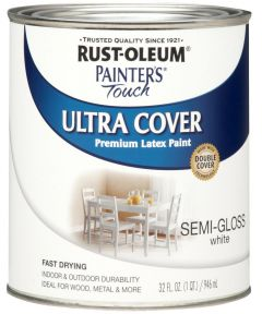 Painter's Touch Ultra Cover Multi-Purpose Gloss Brush-On Paint , Quart, Semi-Gloss White