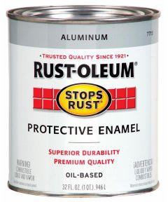 Stops Rust Protective Enamel Oil-Based Paint, 1 Quart, Aluminum