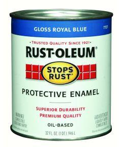 Stops Rust Protective Enamel Oil-Based Paint, 1 Quart, Gloss Royal Blue