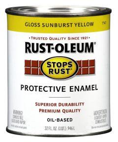 Stops Rust Protective Enamel Oil-Based Paint, 1 Quart, Gloss Sunburst Yellow
