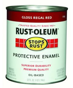 Stops Rust Protective Enamel Oil-Based Paint, 1 Quart, Gloss Regal Red