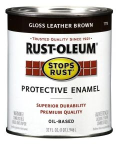 Stops Rust Protective Enamel Oil-Based Paint, 1 Quart, Gloss Leather Brown