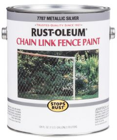 Stops Rust Chain Link Fence Paint, 1 Gallon, Metallic Silver