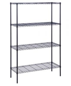 4-Tier Black Shelf Unit, 18x48x72 Inches