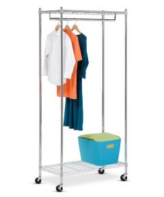 Heavy Duty Chrome Urban Rolling Garment Rack, 73 x 18 x 35-4/5 Inches