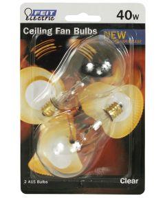 Feit Electric 40 Watt Clear Incandescent Ceiling Fan Bulb, 2 Pack