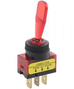 Red Paddle SPST On-Off Lighted Toggle Switch (20 Amp)