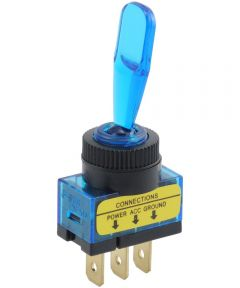 Blue Paddle SPST On-Off Lighted Toggle Switch (20 Amp)