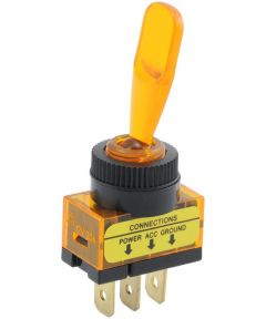 Amber Paddle SPST On-Off Lighted Toggle Switch (20 Amp)