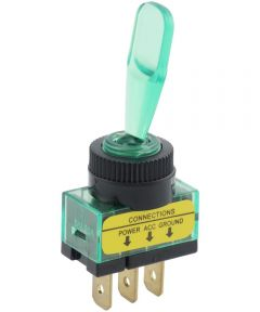 Green Paddle SPST On-Off Lighted Toggle Switch (20 Amp)
