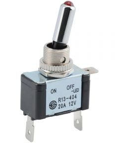 Red SPST LED Lighted Toggle Switch (20 Amp)