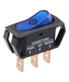 Blue SPST On-Off Lighted Rocker Switch (25 Amp)