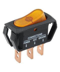 Amber SPST On-Off Lighted Rocker Switch (25 Amp)