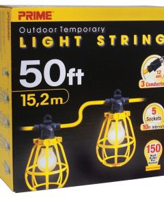 50 ft. 12/3 SJTW Yellow 5-Light U-Ground Light String