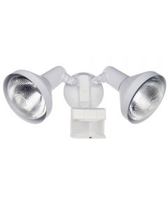 2 Bulb 120 Watt White DualBrite 2-Level Motion Flood Light, 240 Degrees