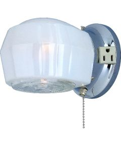 Dimmable Wall Light Fixture with Pull Chain, (1) 60/13 W, Medium, A19/CFL Lamp, Chrome