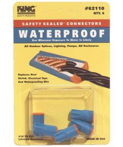 Blue & Orange Waterproof Wire Connectors 6 Count