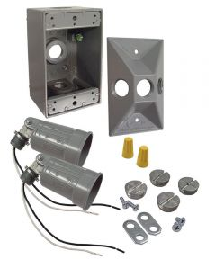 75 To 150 Watt Gray Rectangular Dual Lampholder Kits