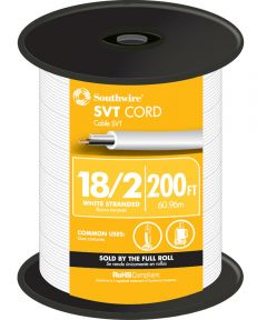 White 18 Gauge 2 Wire SVT Cord (Sold Per Foot)