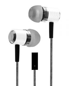 White Metal Buds Stereo Earbuds