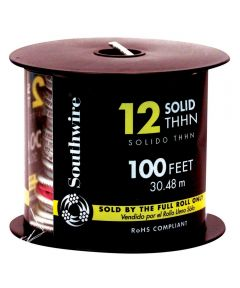 100 ft. 12 Gauge White THHN Solid Wire