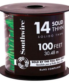 100 ft. 14 Gauge Green THHN Solid Wire