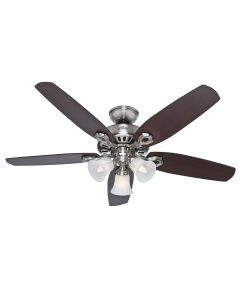 Hunter 52 in. Builder Plus 5 Blade Ceiling Fan with 3 Lights, Brushed Nickel