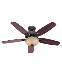 Hunter 52 in. Builder Deluxe 5 Blade Ceiling Fan with Light, Bronze