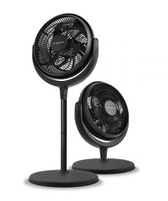 12 in. Adjustable Height Stand Fan, Black
