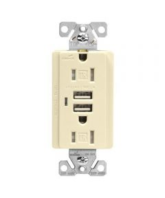 15A Receptacle with 2 USB Ports, Ivory