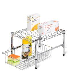Chrome Adjustable Shelf Cabinet Organizer, 17.5 x 10.5 x 10.5 Inches